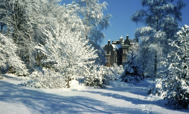 Threave House will be decked with holly for its special Christmas celebrations on December 5/6. Photo courtesy of National Trust for Scotland