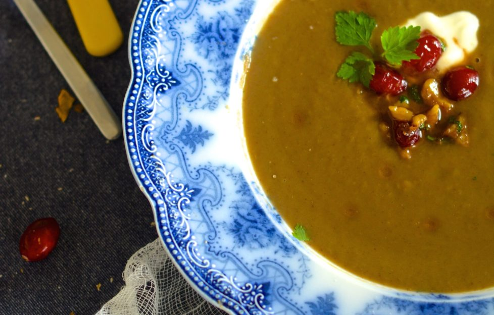 Cheery chestnut and calvados soup with holly bread croutons