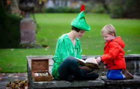 Peter Pan flies in to Falkland Palace, Fife to share heritage stories with Joe Sutherland (3).