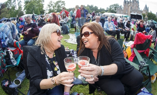 Cheers! Strawberries and fizz at Glamis Prom.