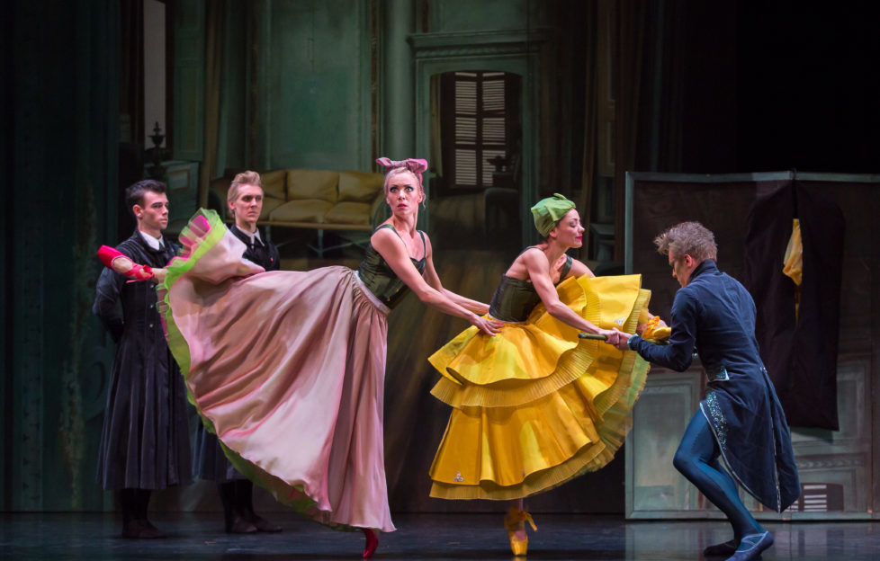 amie Reid and Matthew Broadbent as Dressmakers, Eve Mutso as the Tall Stepsister, Sophie Martin as the Short Stepsister and Jamiel Laurence as the Dancing Master in Christopher Hampson's Cinderella. Photo by Andy Ross. Picture © Scottish Ballet 0141 333 1092