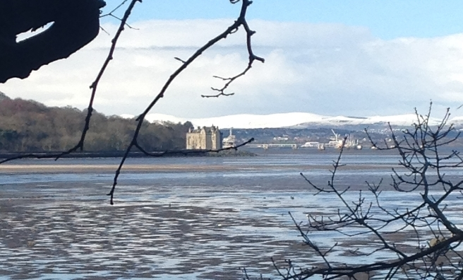 The historic Barnbougle Castle, Rosyth Dockyard and very snowy hills.