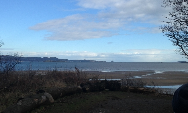 The view across to sunny Fife