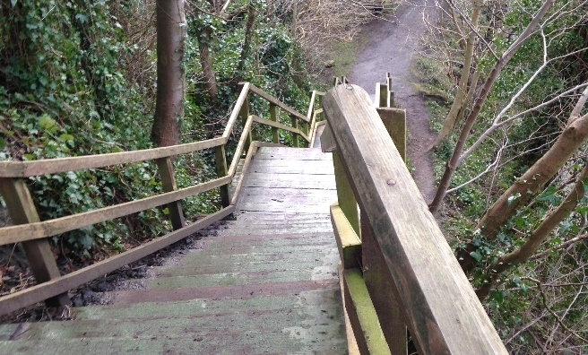 The stairway to Cramond village.