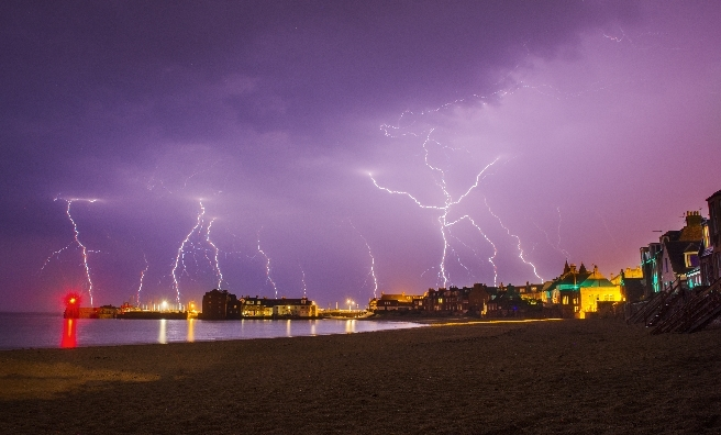 Lightning over the harbour by Cameron Henderson. Courtesy of Scottish Seabird Centre Nature Photography Awards