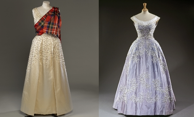 Two Norman Hartnell evening dresses from the exhibition. Royal Collection Trust / © Her Majesty Queen Elizabeth II 2016