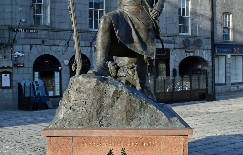 The memorial statue to the Gordon Highlanders in Aberdeen. Pic: shutterstock