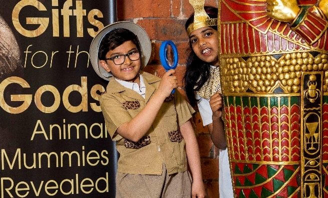 Ali Alghmedi and Rittika Saint Marc from Anderston Primary School were given a sneak preview of the exhibition before dressing up in Ancient Egyptian outfits to explore the exhibition's interactive discovery zone.