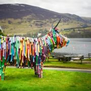 The metal bull crafted by Kev Paxton, the artist behind Edinburgh Airport's iconic thistles.