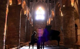 Jazz Pianist, Leszek Mozdzer, during a rehearsal at St Magnus Cathedral