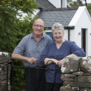 Shirley and Eddie standing proudly outside their famous restaurant. Pic: Angus Bremnar