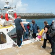 Boarding the Boy James for our trip to Eriskay
