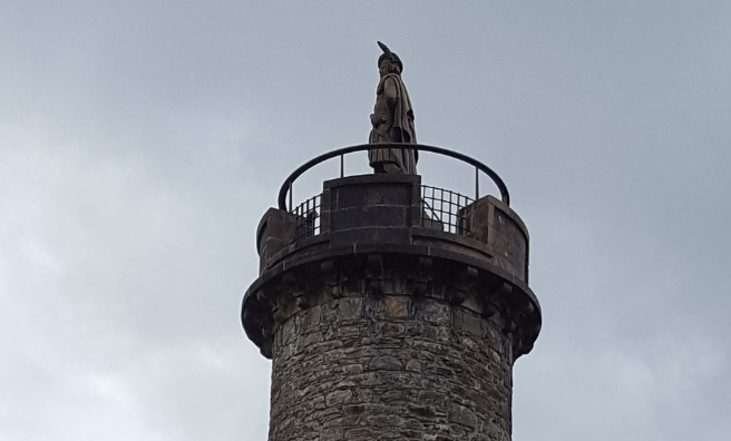 The Highlander looks out from the top of the Glenfinnan Monument. Photo courtesy of National Trust For Scotland