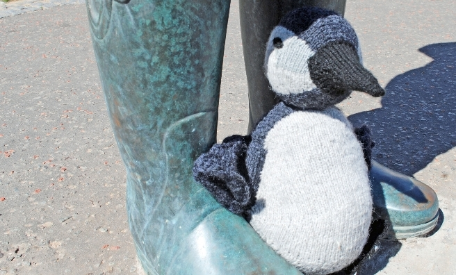Tammie Junior takes shelter at the foot of the statue at The Scottish Seabird Centre