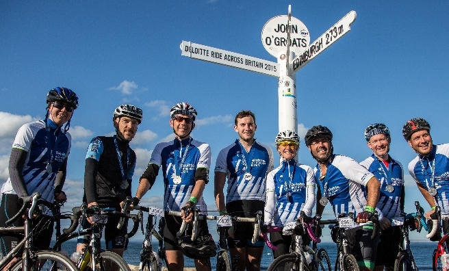 The end! A few of the cyclists celebrate completing the 2015 Deloitte Ride Across Britain