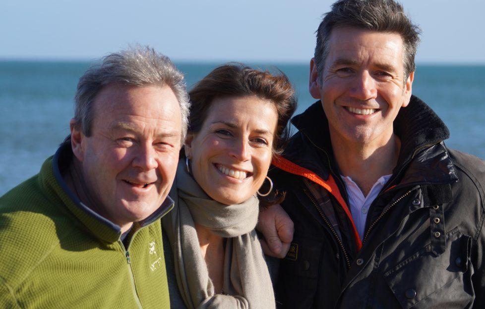 Regular Landward reporters Euan McIlwraith and Sarah Mack with Dougie. (C) BBC Scotland