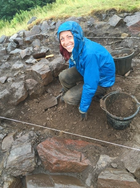 Participants having fun at an Archaeological Excavation at Moredun Topin in Perthshire. Pic by AOC Archaeology.