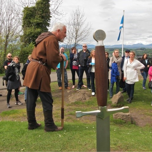 Reenactor discussing the Battle of Stirling Bridge. Pic courtesy of the National Wallace Monument