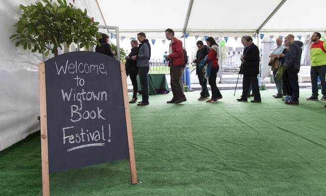 Queing up to hear one of the many top authors at the 2016 Wigtown Book Festival