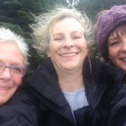 A very windswept selfie taken at the top of Meigle Hill