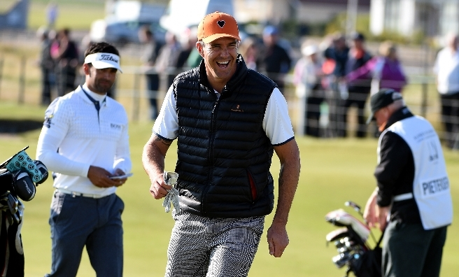 Cricketer Kevin Pietersen swaps his bat for golf clubs at the Dunhill.