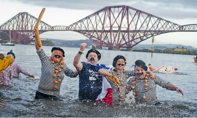 The Legendary Loony Dook at South Queensferry. Pic by Lloyd Smith