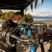 Fixing bikes at Loch Lomond Shores. Photo by Andy Catlin
