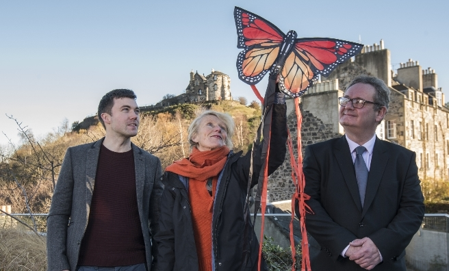 Perhaps not actual life size! Anthony McCluskey of Butterfly Conservation Scotland, Leonie Alexander of RGBE and Hamish Torrie of Glenmrangie.