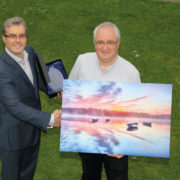 The Scots Magazine Editor Robert presents Joe with his framed photograph and Photographer of the Year 2017 trophy.