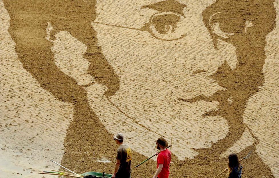 Sand drawing of Schubert on Elie beach for the East Neuk Festival a few years ago. This year they'll be doing a sculpture in Crail High Street! Pic: Colin Hattersley