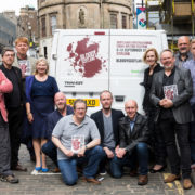 (L-R) James Oswald, Douglas Skelton, Gordon Brown, Alex Gray, Craig Robertson, Mark Leggatt, Neil Broadfoot, Chris Brookmyre, Lin Anderson, Craig Russell, Tom Keney, Doug Johnstone at the Bloody Scotland 2017 launch. Pic: Paul Reich