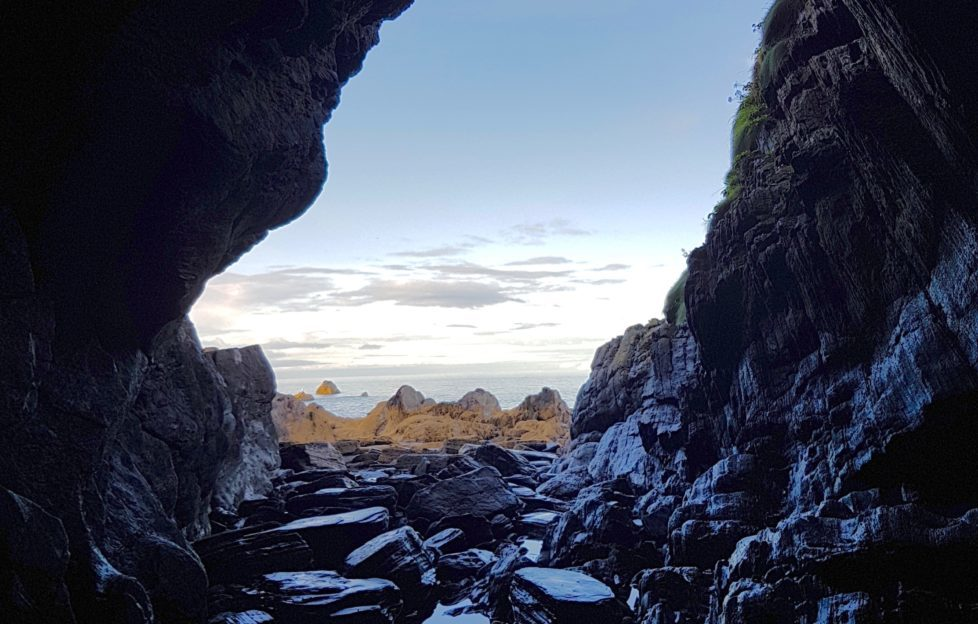 A possible pirate's cave under Findlater Castle! Pic: David Weinczok.
