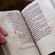 The oldest book in the library - a 12th Century Psalter, or book of psalms.