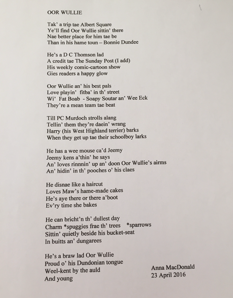 Oor Wullie Poem – Anna MacDonald - The Scots Magazine